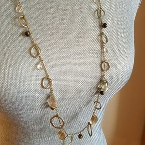 Long amber gold necklace